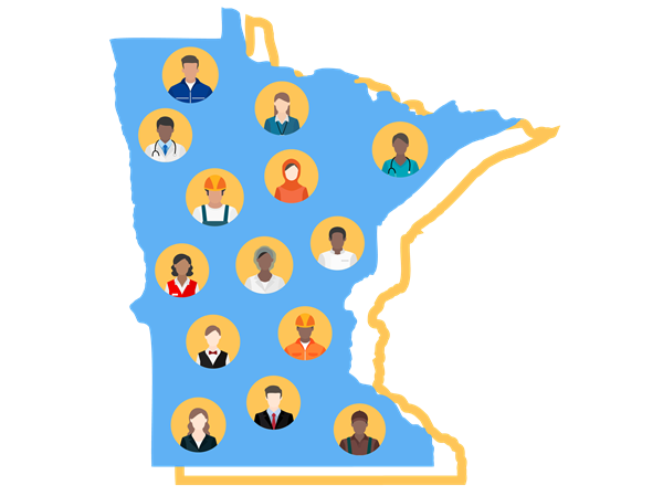 map of MN with job icons